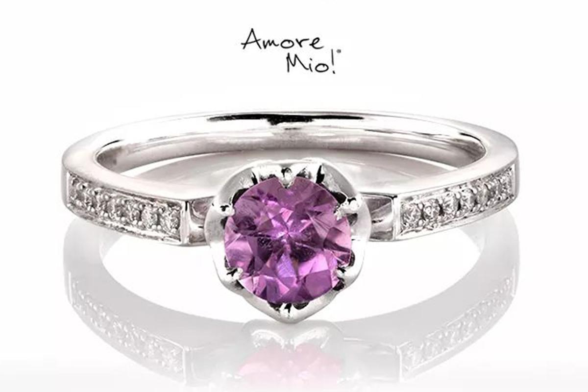 anillo oro blanco gema amatista