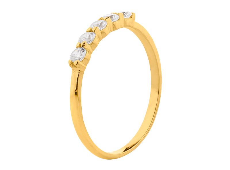 Anillo de promes de oro con Diamante lateral de: (5 x 0.05= 0.25 ct) ct Color- G Claridad- SI1