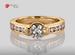 Anillo de compromiso de oro de 14k, con diamante central de:  0.75 puntos color- H claridad- VS1