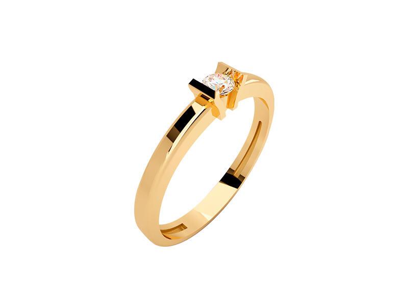 Anillo de compromiso de oro con Diamante central de: 0.05 ct Color- G Claridad- SI1