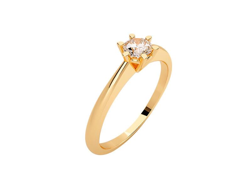 Anillo de compromiso de oro con Diamante central de: 0.1 ct Color- G Claridad- SI1