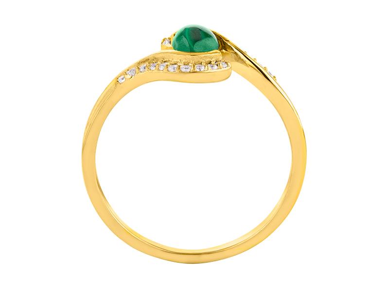 Anillo de compromiso de oro, con Malaquita central de: 0.50 Puntos Color- N/A Claridad- N/A