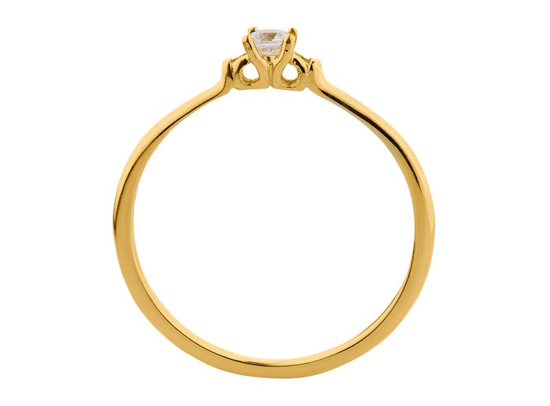 Anillo de compromiso de oro, con diamante central de: 0.08 Puntos Color- F Claridad- VS1  (54/46)