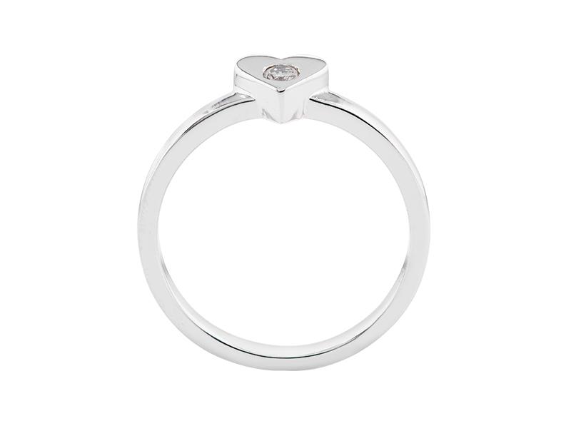 Anillo de compromiso de oro, con Diamante central de: 0.07 Puntos Color- J Claridad- VS1