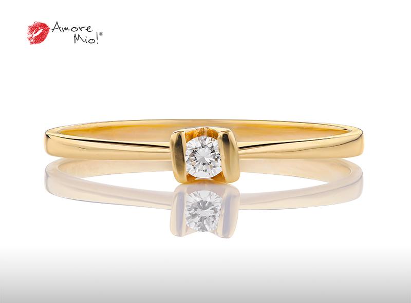 Anillo de compromiso de oro, con Diamond central de: 0.08 Puntos Color- E Claridad- VS2