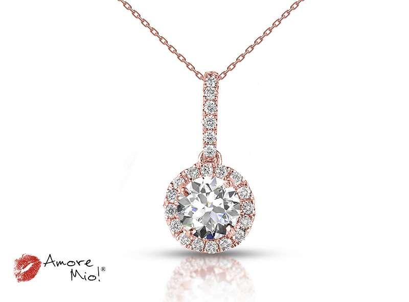 Dije de oro rosa de 18kt! con diamante<br>Diamante  round de 0.26 quilates, Color-F,Claridad-SI3,Diamante Mejorado-None