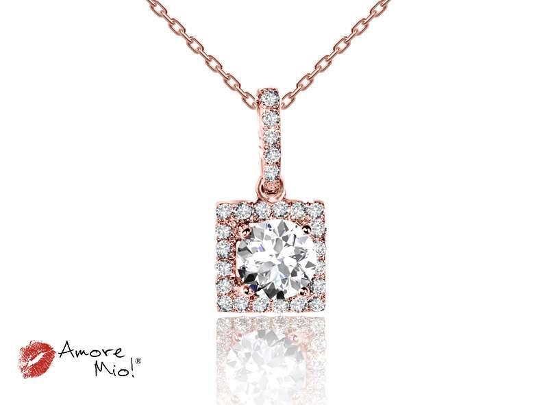 Dije De Oro Rosa De 18kt! con Diamante