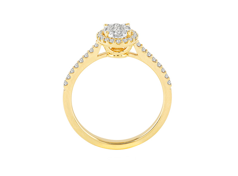 Anillo Cluster de oro con Diamantes lateral de: 0.5 ct Color- F Claridad- SI1