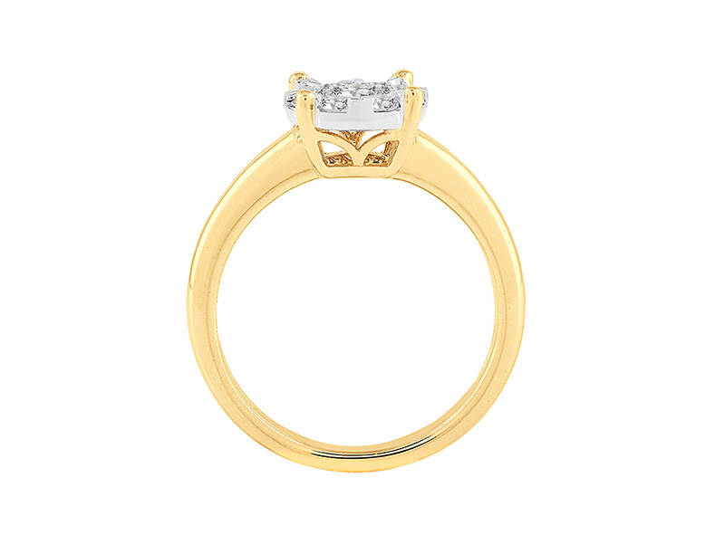 Anillo Cluster de oro con Diamantes lateral de: 0.25 ct Color- F Claridad- SI1