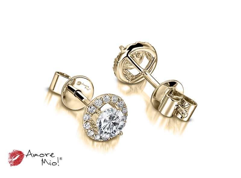 Aretes de oro amarillo de 18kt! 1.00 a 1.25 cts.<br>Diamante  round de 0.17 quilates, Color-J,Claridad-VS1,Diamante Mejorado-None