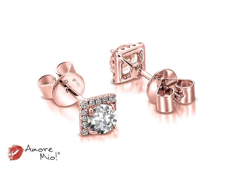 Aretes de oro rosa de 18kt! 1.00 a 1.25 cts.<br>Diamante  round de 0.28 quilates, Color-G,Claridad-SI1,Diamante Mejorado-None