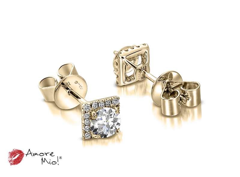 Aretes de oro amarillo de 18kt! 1.00 a 1.25 cts.<br>Diamante  round de 0.28 quilates, Color-G,Claridad-SI1,Diamante Mejorado-None