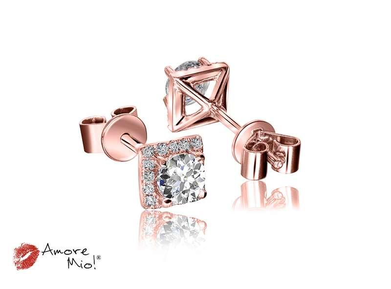 Aretes de oro rosa de 18kt! 1.00 a 1.25 cts.<br>Diamante  round de 0.17 quilates, Color-J,Claridad-VS1,Diamante Mejorado-None