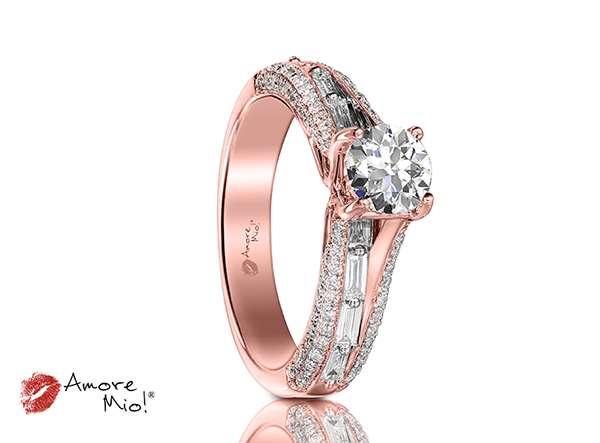 Anillo de compromiso de oro rosa de 18k
