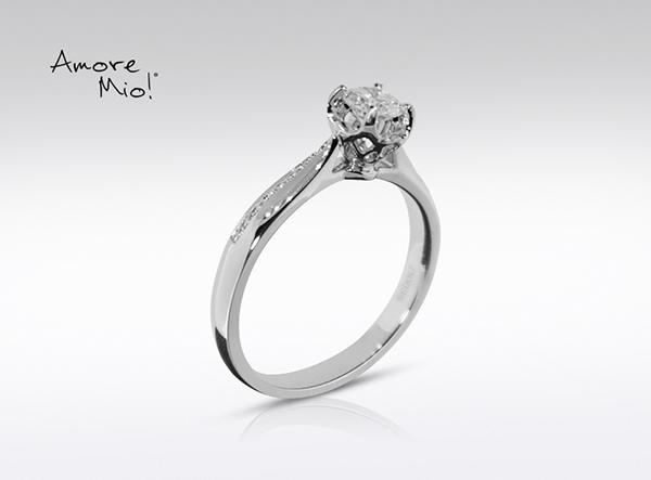 Anillo de compromiso de oro blanco de 18k con un diamante de: 0.23 puntos Color- I Claridad- SI1