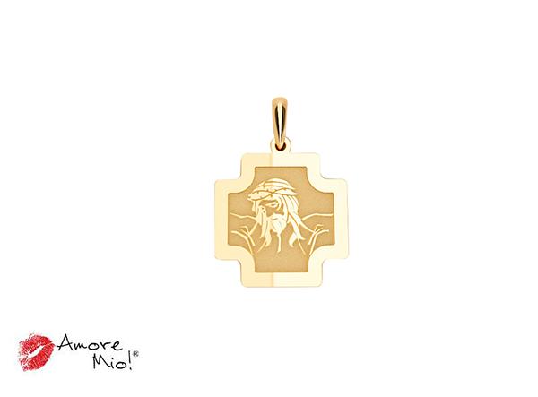Medalla de oro de 14kt forma cruz