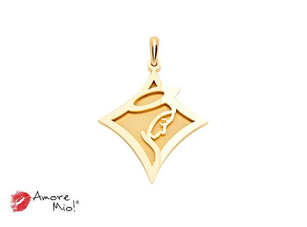 Medalla de oro de 14kt rombo Virgen