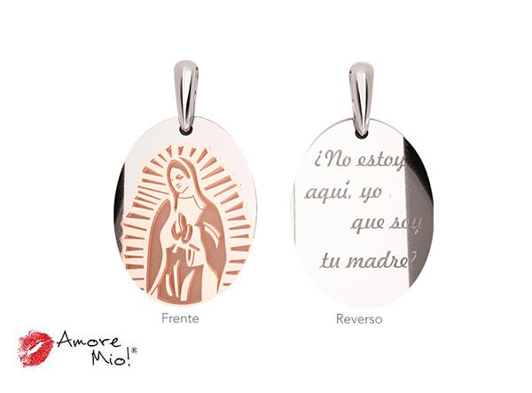 Medalla de oro de 14kt ovalada Virgen