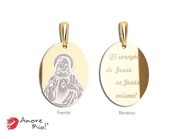 Medalla de oro de 14kt ovalada sagrado corazon