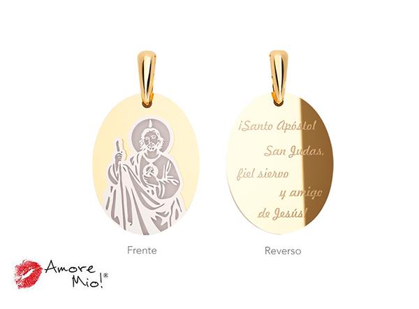 Medalla de oro de 14kt ovalada San Judas