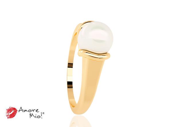 Anillo de oro de 14kt con perla cultivada