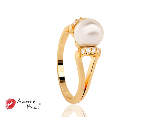 Anillo de oro de 14kt con perla cultivada y circonias