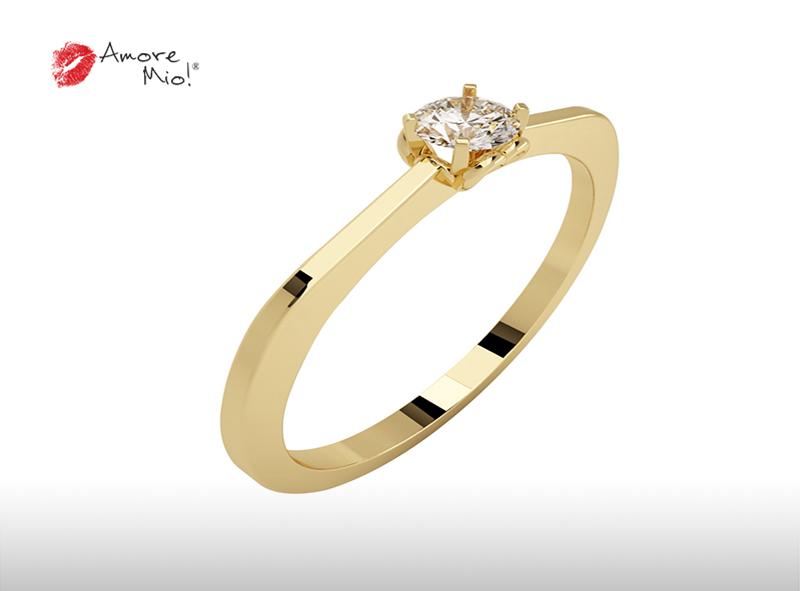 Montadura de oro de 14kt<br>Diamante  round de 0.16 quilates, Color-E,Claridad-SI1,Diamante Mejorado-None