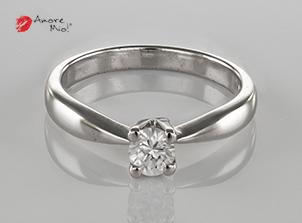 Anillo de compromiso de oro de 14k, con diamante central de: 0.23 Puntos Color- F Claridad- SI1