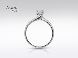 Anillo de compromiso de oro blanco de 14kt<br>Diamante  round de 0.09 quilates, Color-J,Claridad-VS1,Diamante Mejorado-None