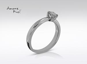 Anillo de compromiso de oro de 14k, con diamante central de: 0.31 Puntos Color- H Claridad- SI1