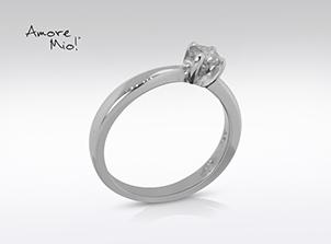 Anillo de compromiso de oro de 14k, con diamante central de: 0.28 Puntos Color- H Claridad- SI1