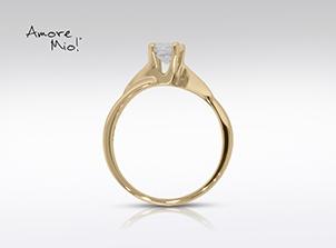 Anillo de compromiso de oro amarillo de 14k<br>Diamante  round de 0.19 quilates, Color-F,Claridad-SI2,Diamante Mejorado-None
