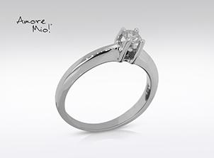 Anillo de compromiso de oro de 14k, con diamante central de: 0.26 Puntos Color- H Claridad- SI1