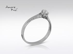 Anillo de compromiso de oro de 14k, con diamante central de: 0.23 Puntos Color- F Claridad- SI2