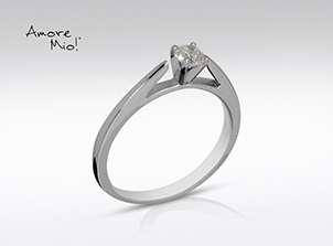Anillo de compromiso de oro de 14k, con diamante central de:  0.25 Puntos Color- E Claridad- SI1