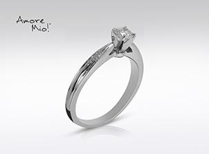 Anillo de compromiso de oro de 14k, con diamante central de: 0.32 Puntos Color- D Claridad- SI2