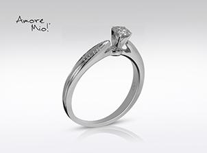 Anillo de compromiso de oro de 14k, con diamante central de: 0.25 Puntos Color- G Claridad- SI2