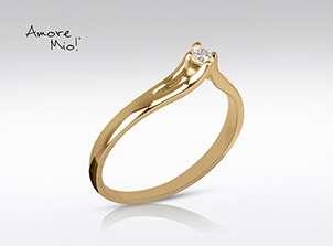 Anillo de oro de 14kt, con diamante central de: 0.09 puntos color- F claridad- VS1