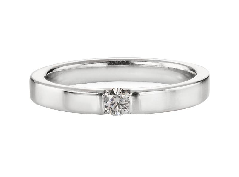 Anillo de compromiso de oro blanco de 14kt<br>Diamante  round de 0.19 quilates, Color-F,Claridad-SI2,Diamante Mejorado-None