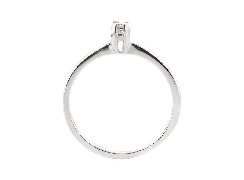 Anillo de compromiso de oro blanco de 14kt<br>Diamante  round de 0.05 quilates, Color-D,Claridad-SI2,Diamante Mejorado-None