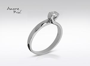 Anillo de compromiso de oro de 14k, con diamante central de: 0.30 Puntos Color- F Claridad- SI2