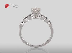 Anillo de compromiso de oro, con diamante central de: 0.28 Puntos Color- G Claridad- VS2 (48/52)