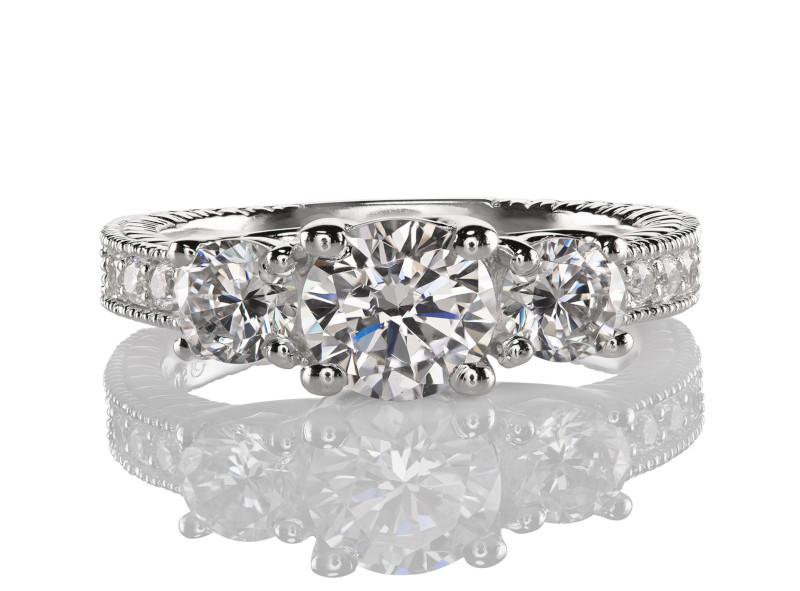 Anillo de compromiso de oro blanco de 14kt<br>Diamante  round de 0.60 quilates, Color-I,Claridad-SI2,Diamante Mejorado-Clarity Enhanced