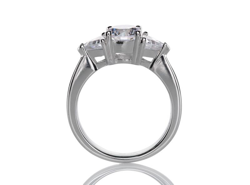 Anillo de compromiso de oro blanco de 14kt<br>Diamante  round de 0.51 quilates, Color-H,Claridad-SI2,Diamante Mejorado-Clarity Enhanced