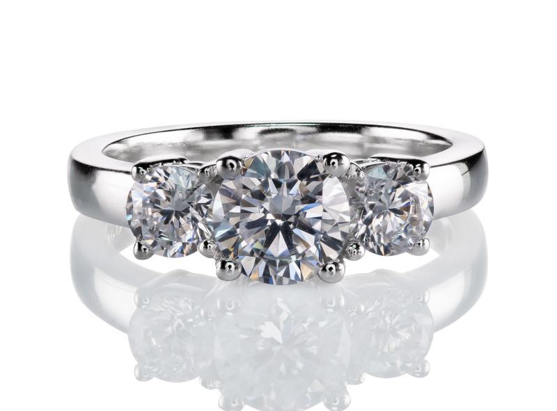 Anillo de compromiso de oro blanco de 14kt<br>Diamante  round de 1.01 quilates, Color-E,Claridad-SI1,Diamante Mejorado-None