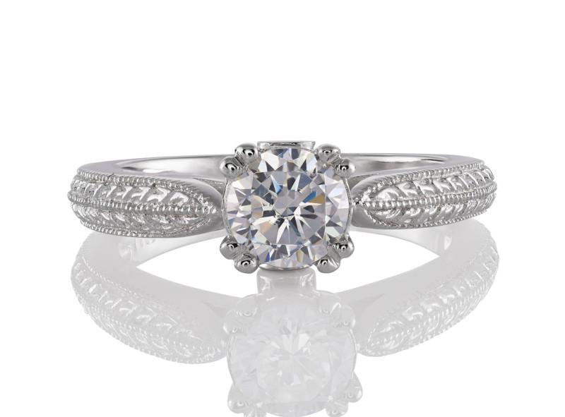 Anillo de compromiso de oro blanco de 14kt<br>Diamante  round de 0.51 quilates, Color-J,Claridad-SI1,Diamante Mejorado-None