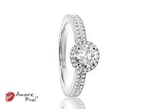 Anillo de compromiso de oro blanco de 18k<br>Diamante  round de 0.42 quilates, Color-D,Claridad-VS2,Diamante Mejorado-Clarity Enhanced