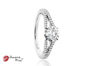 Anillo de compromiso de oro blanco de 18k<br>Diamante  round de 0.41 quilates, Color-Black,Claridad-I1,Diamante Mejorado-None
