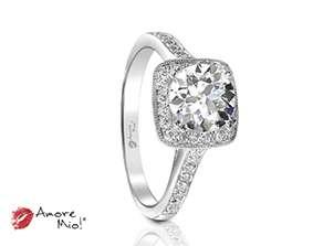 Anillo de compromiso de oro blanco de 18k<br>Diamante  round de 0.70 quilates, Color-Black,Claridad-N/A,Diamante Mejorado-None