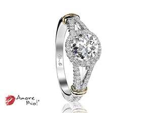 Anillo de compromiso de oro blanco de 18k<br>Diamante  round de 0.51 quilates, Color-H,Claridad-SI2,Diamante Mejorado-Clarity Enhanced